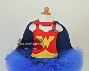 Wonder Woman Birthday Party Tutu Outfit- Super Hero Comic Book Pageant Dress-Halloween Costume-New Baby Girl First 1st Cake Smash 1 Twins 2