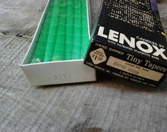 Lenox Candles Vintage Empire Green Candles. One DozenTiny Tapers. In  Original Box. One Dozen 10 Inch Candles.