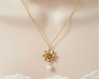 Gold Lotus Flower Necklace, Gold Jewelry, Wedding Jewelry, Bridesmaid Jewelry