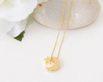 Gold Necklace, Gold Crescent Moon And Star Necklace, Gold Jewelry