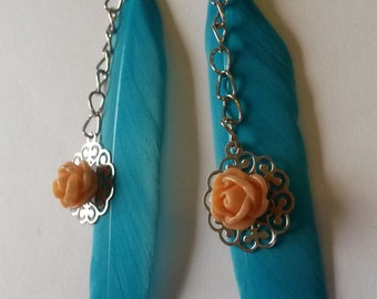 Turquoise feather earrings, dangling earrings, with a peachy rose cabochon