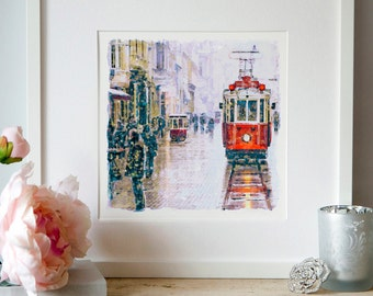Istanbul Nostalgic Tramway Watercolor painting Wall art Tram poster Aquarelle Cityscapes Printable art Vintage tram Tramway decor Art gifts