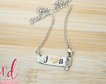 Pewter Initial Necklace | Couples Necklace | Pewter Necklace | Initial Jewelry | Hand Stamped