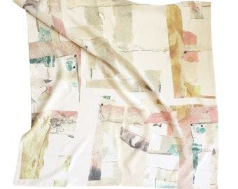 Collaged Silk Crepe de Chine Scarf