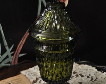 Vintage Green Glass Apothecary Jar