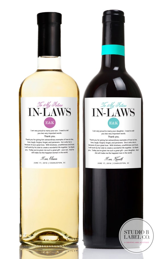Wedding Gifts For Parents In Law : Wedding Gifts for Parents Wine LabelsIn lawsGift for Inlaws ...