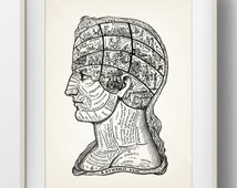 A Symbolic Head Phrenology Print - 1899 - PP-11 - Fine art print of a vintage scientific or pseudoscience antique medical illustration