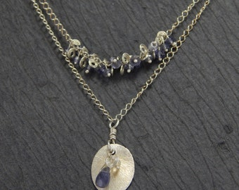 iolite necklace, double strand necklace, silver necklace, pendant necklace, wire wrapped stones, blue stones.