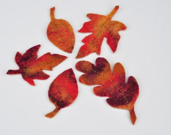 Hand Felted Wool Leaves - Nature Table