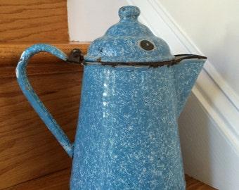 Vintage Blue Graniteware Coffee Pot