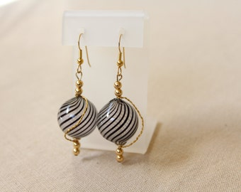 Wire Wrapped Murano Glass Earrings