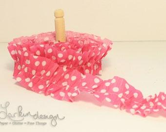 Pink and White Polka Dot Crepe Paper Ruffles, (1) One Yard