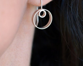 Petra Drop Earrings, Double Hoop Earrings, Hoops, Modern Earrings, Modern Jewelry, Sterling Silver, Shiny or Matte Finish