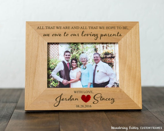 Custom Picture Frame Gift For Parents Of Bride Or Groom All
