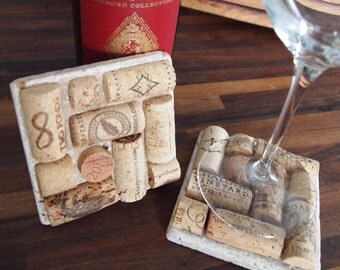 Wine cork and stone square coaster set of 2