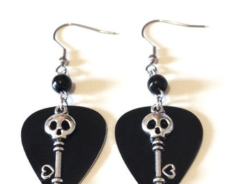 Black Metal Guitar Pick Earrings with Skull Key Charm and Beads