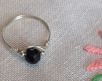 Black Spinel Sterling Silver Ring size M