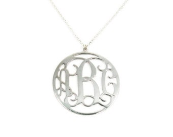 "Round monogram necklace. 1""sterling silver monogram. Personalized Initials necklace. Monogram gift. Personalized jewelry. 3 initials"