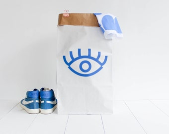 Grand sac papier géant / stockage rangement jouets chambre / blanc kraft sérigraphié / Oeil