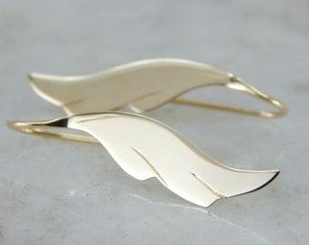 Golden Feather Drop Earrings 5TKNJY-D