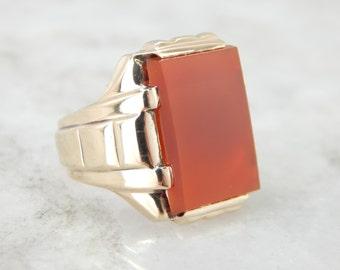 Sleek Carnelian Men's Ring from the Retro Era 63583V-N