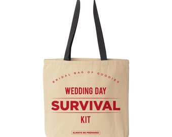 Survival Kit: Wedding Tote Bag | Wedding Favor Bag | Wedding Party Gift | Bridal Party Survival Kit