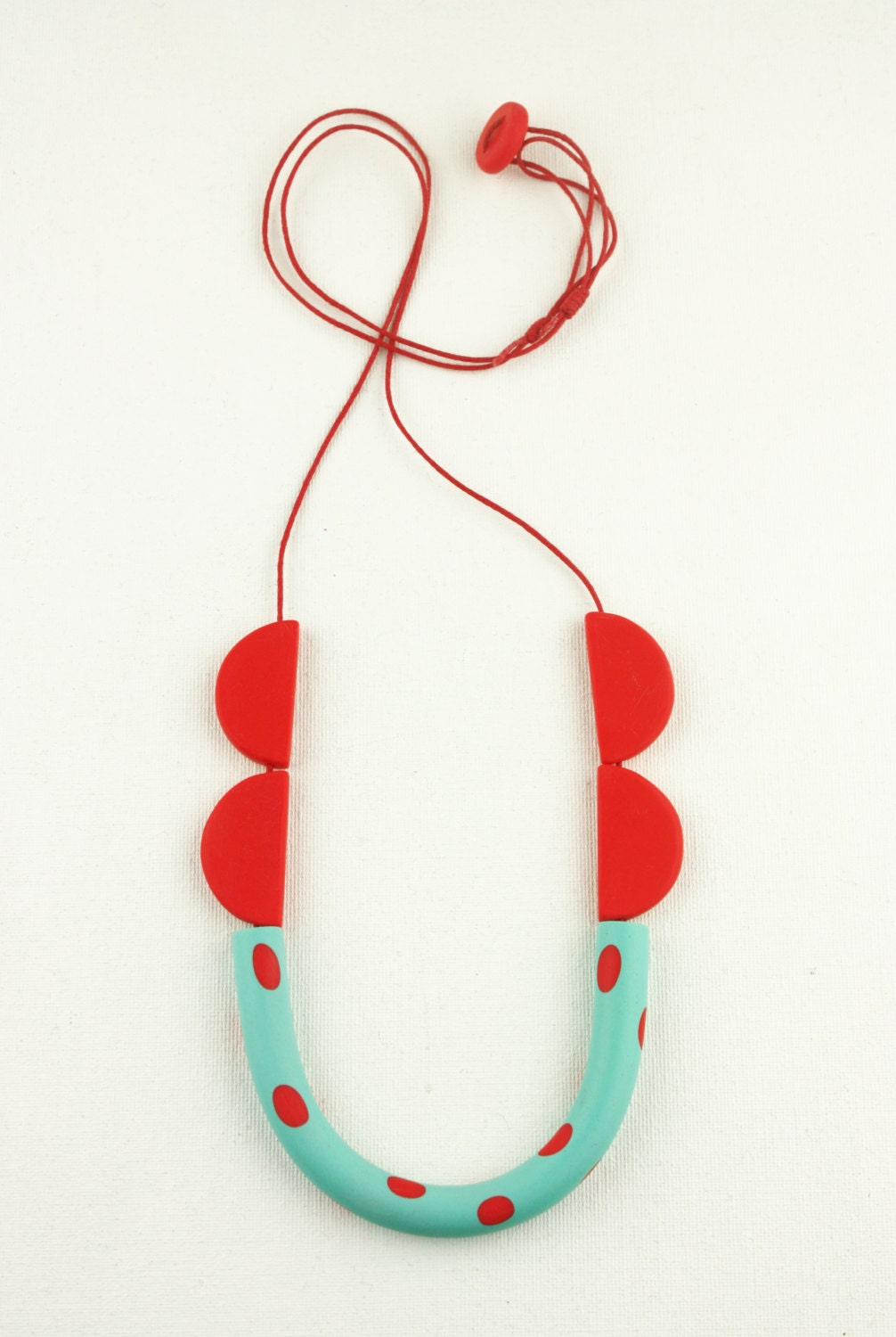 Red turquoise necklace minimal funky polymer clay cotton for Minimal art jewelry