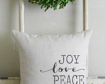 Joy, Love & Peace 20 x 20 Pillow Cover_holidays, home decor, cushion, gift, present.