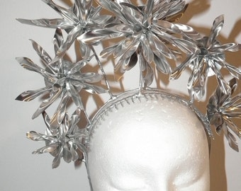 MILLINEUM  New  Melbourne Cup  Ascot spring racing headpiece couture silver aluminium high metal floral flower crown. fotf