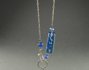 Blue Fused Glass and Silver Leaf Necklace