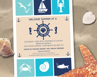 Clam Bake Beach Summer BBQ Party Invitation, Printable, Evite or Printed Invitations