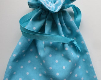 Turquoise Lined Drawstring Fabric Gift Bag