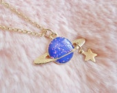 Glitter Saturn Space Sci Fi Planet Galaxy Solar System Drop Star Gold Pendant Long Silver Necklace Jewellery Jewelry