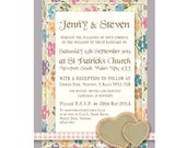 Wedding Invitation Lilac Vintage Country Garden Style - Digital File Only