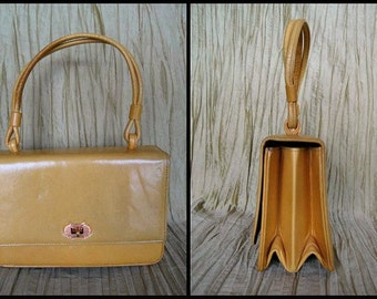 60s MOD Yellow purse / 60s Jackie O yellow handbag / vintage yellow purse / 60s yellow calfskin purse / yellow evening bag