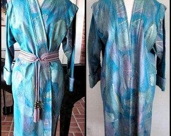 Hand Painted Kimono Coat / 80s Duster Coat / fits S-L / Vintage Hand Painted Coat / Wearable Art Coat