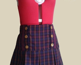 Wool tartan plated skirt