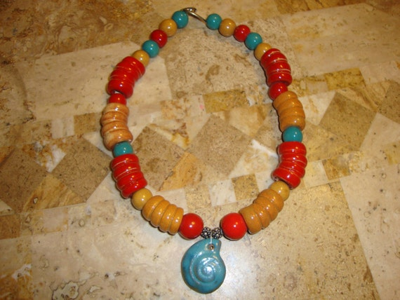 BIG & BOLD Red, Gold, and Teal Kazuri bead necklace