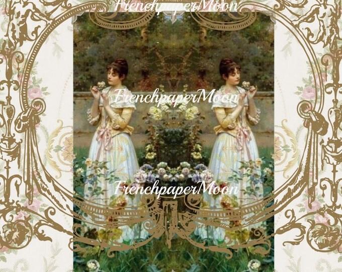 Vintage Digital Rose Garden, Victorian Ladies, Ladies in the Garden, Digital Transfer Graphic