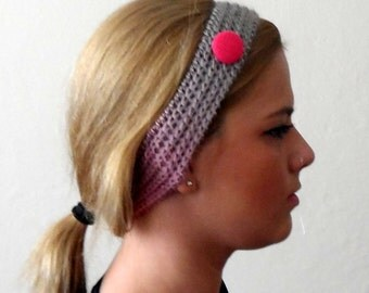 pink gray cream knitted headband  buttons multicolor hair bands knit headband gift for her