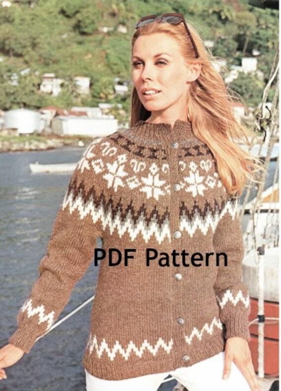 Vintage Womens Cardigan Icelandic Nordic Ski Sweater Knitting Pattern 4 sizes Digital Download