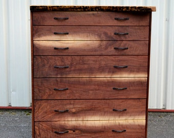 Live Edge Walnut Bookmatched Dresser(exact piece available)