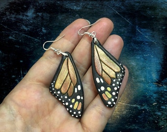 Hand tooled leather iridescent monarch butterfly wings earrings with sterling silver hooks - Autumn butterfly earrings