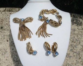 1940s Vintage Elsa Schiaparelli Necklace, Earring, Brooch, Bracelet Blue Topaz