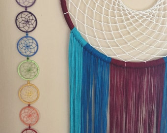 7 chakras rainbow dream catcher. 7cm hoop diameter dreamcatcher hand made