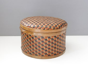 Vintage Woven Basket Box With Lid Round Geometric