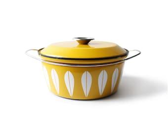 Cathrineholm Norway Yellow Lotus Dutch Oven Pot Danish Modern