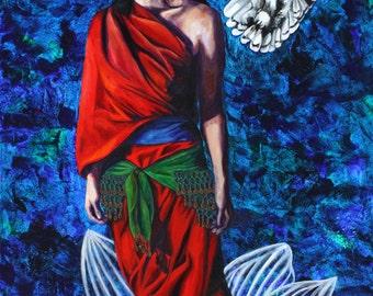 Signed Numbered Archival Print -Lakshmi -Owl -Lotus Flower -Red -Snow Owl -Lakshmi Art -Hindu Art -Divine Feminine -goddess -visionary art