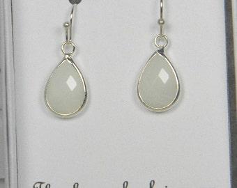 White / Silver Bridesmaids Teardrop Earrings, White Bridal Earrings, White Bridesmaid Tear drop Earrings, White Wedding Gift - TD