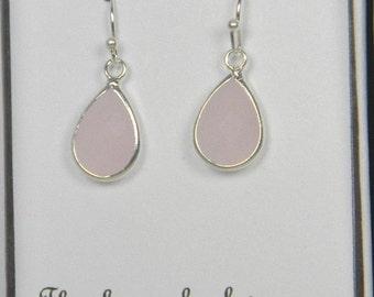 Blush Pink /Silver Bridesmaids Teardrop Earrings, Jewelry Pink Earrings, Bridesmaid Gift, Ice Pink Bridesmaids Earrings - TD